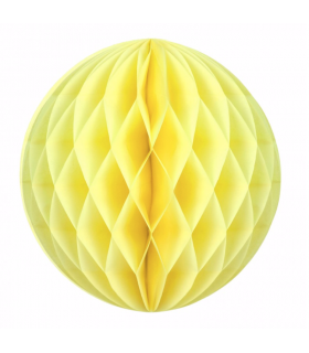 Boule alvéolée en papier jaune