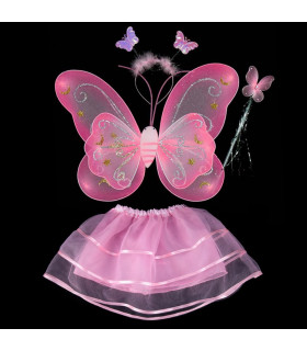 Déguisement enfant fée papillon Kit complet Rose