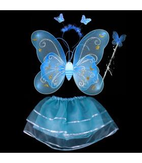 Déguisement enfant fée papillon Kit complet Bleu