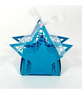Contenant dragées étoile baptême, mariage bleu azur 10pcs