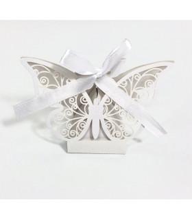 Contenant dragées papillon baptême, mariage Blanc 10pcs