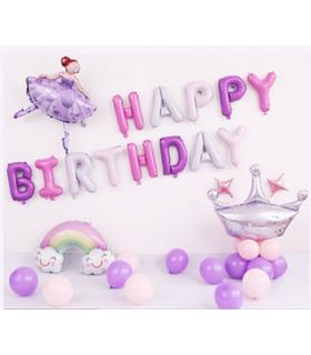 Kit ballon anniversaire murale danseuse violette