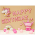 Kit ballon anniversaire murale licorn couronne  rose