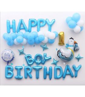 Kit ballon anniversaire Dodo murale Boy Birthday Bleu