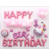 Kit ballon anniversaire Dodo murale Girl Birthday rose