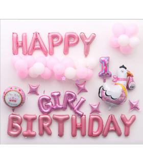Kit ballon anniversaire Dodo murale Girl Birthday rose