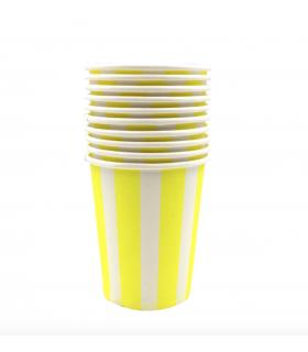 12 Gobelets rayé en carton jaune