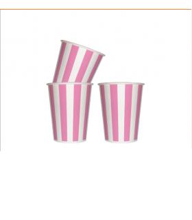 12 Gobelets rayé en carton rose