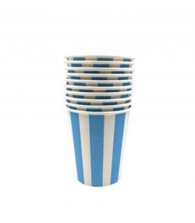 12 Gobelets rayé en carton bleu