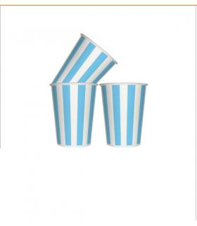 12 Gobelets rayé en carton bleu ciel