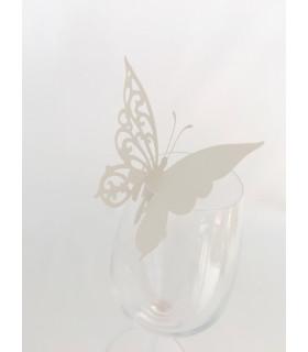 Marque place mariage,baptême sur verre Papillon chic Ivoire 20pcs