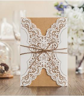 Faire-part mariage vintage, champêtre Kraft, Blanc 10 pcs