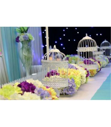Grande cage oiseau d coration table salle blanc en m tal - Cage oiseau decoration ...