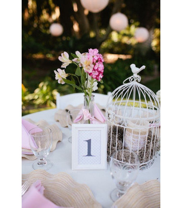 petite cage oiseau d coration table salle blanc en m tal couleur blanc. Black Bedroom Furniture Sets. Home Design Ideas