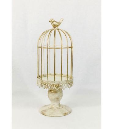 Grande cage oiseau bougeoir d coration patin effet bois - Cage oiseau decoration ...