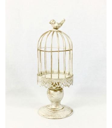 petite cage oiseau bougeoir d coration patin effet bois couleur gris. Black Bedroom Furniture Sets. Home Design Ideas