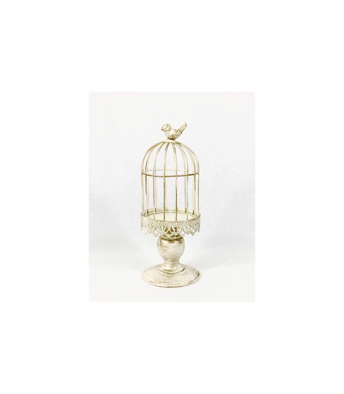 Petite cage oiseau bougeoir d coration patin effet bois - Cage oiseau decoration ...
