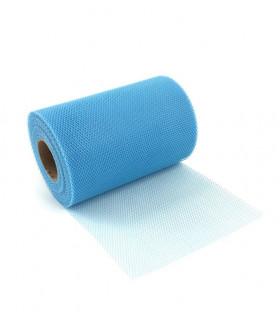 Ruban Large Tulle rigide uni en rouleau 14 cm x 23m Bleu Azur