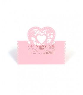 Marque Place table de fête modèle coeur Rose 20 pcs