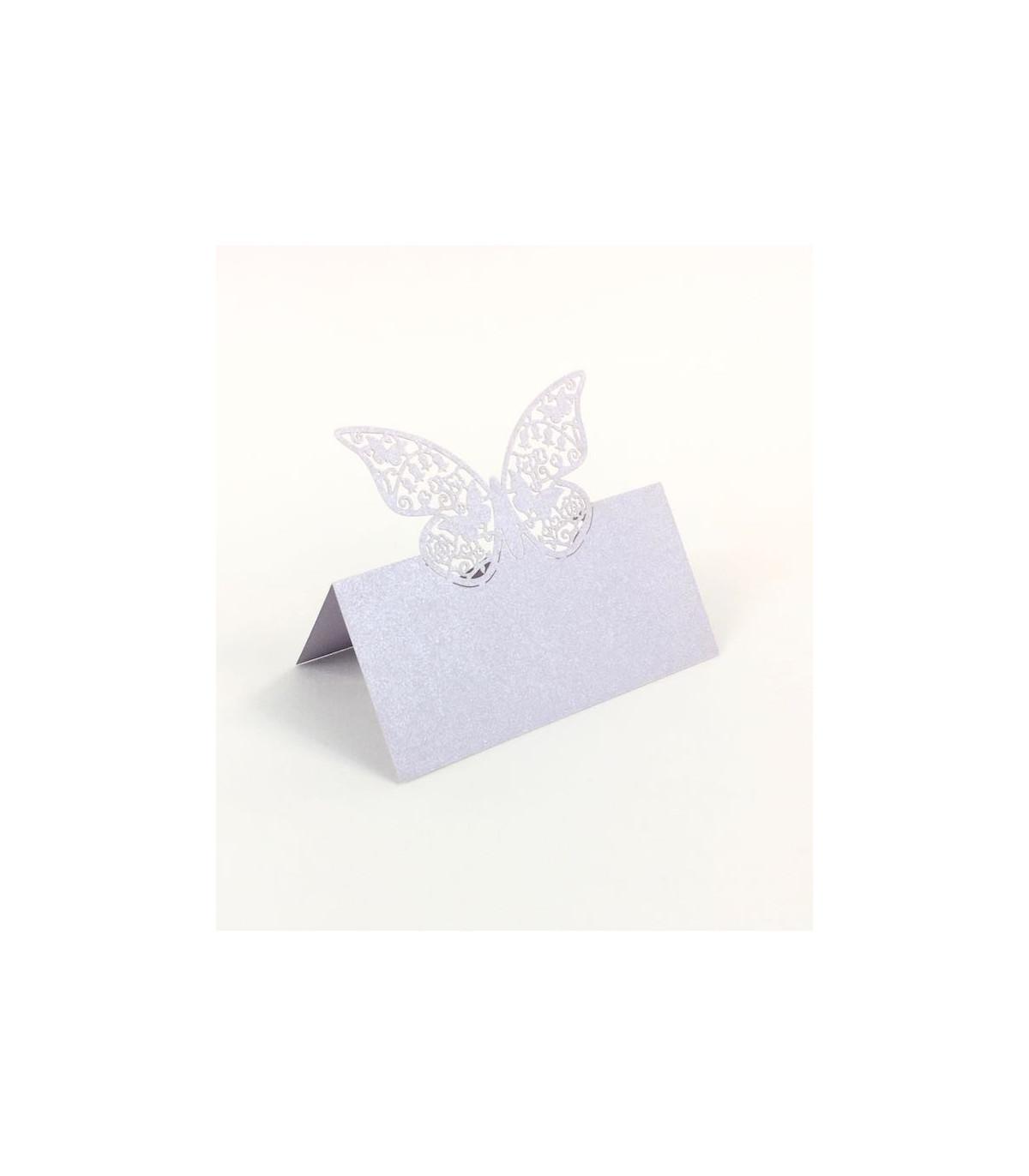 Cartons De Placement Cuisine Maison Blanc Theme Deco Marque Place Table De Fete Modele Grand Papillon Ivoire 20 Pcs