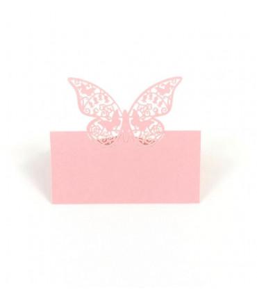 Marque place table de f te rose mod le grand papillon - Modele papillon ...