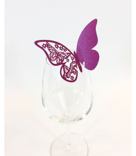 Marque Place table de fête sur verre papillon Fuchsia Nacré 20 pcs