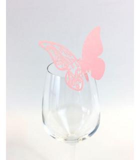 Marque Place table de fête sur verre papillon Rose 20 pcs