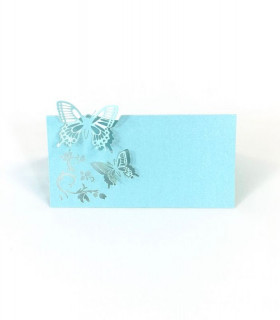 Marque Place table de fête modèle papillon en relief Bleu Ciel 20 pcs