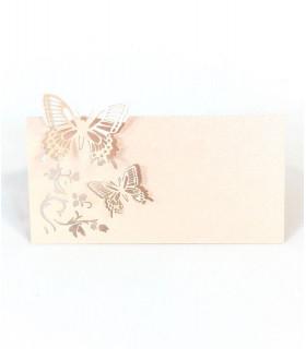 Marque Place table de fête modèle papillon en relief Peche 20 pcs