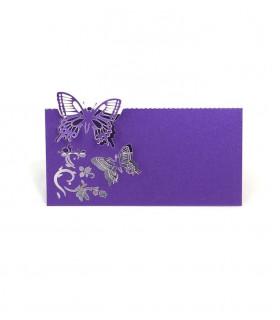 Marque Place table de fête modèle papillon en relief Violet 20 pcs