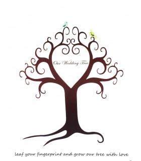 Arbre empreinte sur toile animation mariage motif arbre
